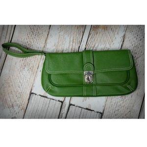 Matrix Green Faux Leather Wristlet